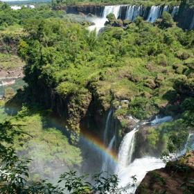 A group of volunteers in Argentina go sightseeing at the Iguazu Falls over a weekend.